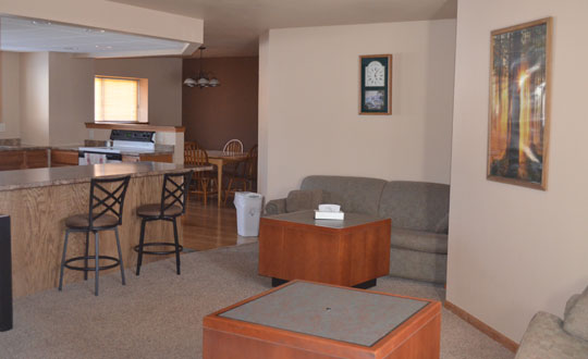 one bedroom condo. Full bathroom with whirlpool tub  living room 51 tv and 2 queen sofa sleepers kitchen a private deck off charcoal grill access One Bedroom Condo Ambers Hideaway of Wisconsin Dells